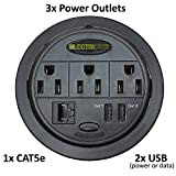 Power Tap Grommet with Hidden Power Center w/ 3 Power, 2 USB & 1 Cat5E - Black