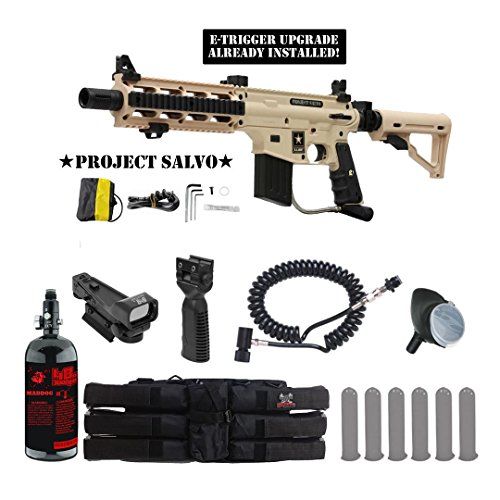 Tippmann U.S. Army Project Salvo w/ E-Grip Tactical HPA Red Dot Paintball Gun Package - Tan by MAddog