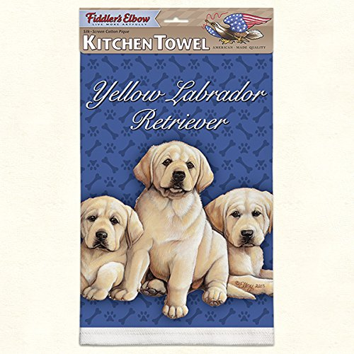 Yellow-Lab-Labrador-Retriever-Puppies-Set-of-2-Dish-Kitchen-Towels-New-Gift