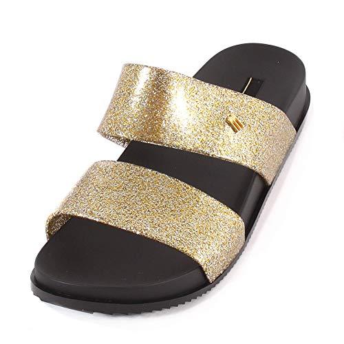 Melissa Women#039s Cosmic 19 Melflex Slip On Slide Gold Glitter