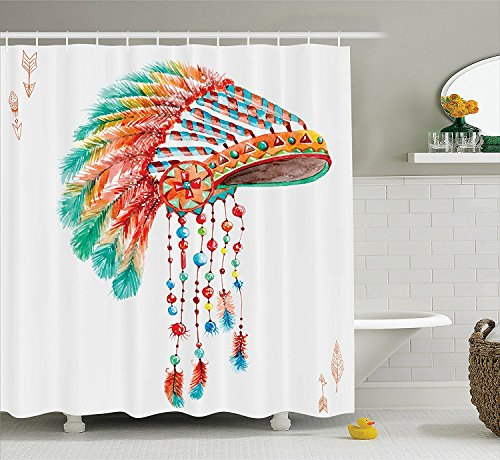 American Decor Shower Curtain Set Watercolor Tribal Indian Chief Headdress with Feathers and BeadsArrow Figures Print Bathroom Accessories Orange (Indian Chief Headdress For Sale)
