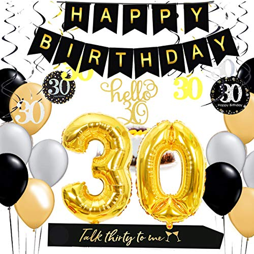 30th Birthday Decorations Kit - Gold 30 Number Balloons, Black Happy Birthday Banner, 30th Birthday Sash, Hanging Swirls, Hello 30 Cake Topper, Dirty 30 Birthday Party Supplies (Gold and -