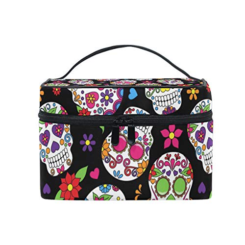 XLING Makeup Bag Floral Flower Skull Halloween Cosmetic Case Travel Portable Carry Cosmetic Brush Box Organizer Storage for Women
