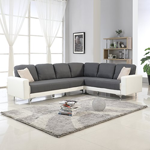 Modern 2 Tone Linen Fabric Sectional Sofa, Large L-Shape Couch (Dark Grey / White)
