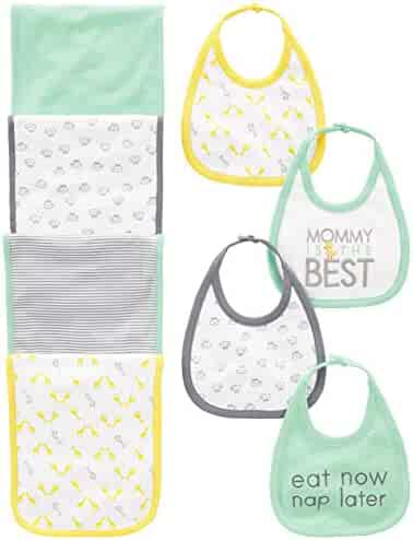 Simple Joys by Carter's Baby 8-Pack Burp Cloth and Bib Set, Lamb/Giraffe, One Size