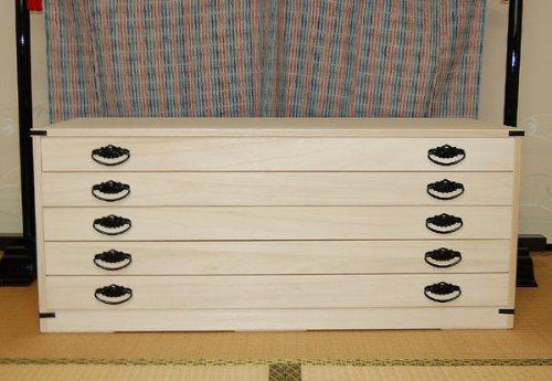 桐たんす ロウ引き仕上げ 5段 総桐 たとう紙折らずに着物収納 【KT5】 【国産】 【日本製】 B005NT67MI