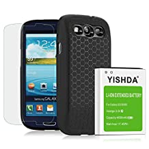Galaxy S3 Extended Battery, YISHDA 4600mAh Li-Ion Battery for Samsung Galaxy S3 I9300 I9305 I535 T999 I747 L710 & Back Cover & Protective Case [18 Month Warranty Included Galaxy S3 Screen Protector]