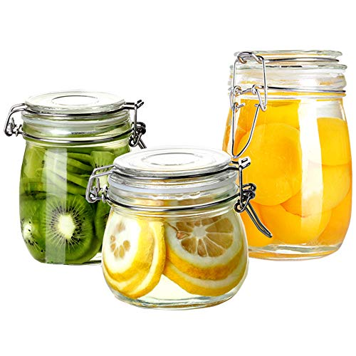 Folinstall 3-Pieces (17oz, 24oz and 34oz) Wide Mouth Mason Jars - Glass Jars with Hinged Lids - Canning Jars Perfect for Storing Coffee, Sugar, Flour. Extra one Replacement Silicone Gasket - Jar Heremes