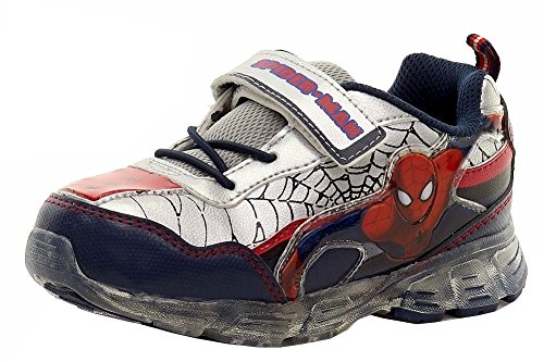 Spiderman Boy's Navy/Silver/Red Light Up Hook-&-Loop Sneakers Shoes Sz: 7T -