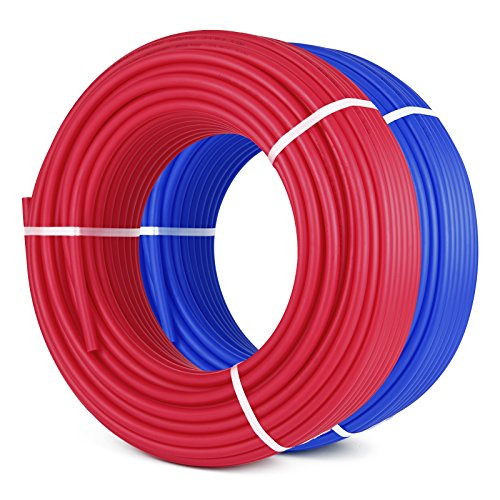 Mophorn Pex Tubing O2 Oxygen Barrier Radiant Floor Heat Pex 2 Rolls of 1/2 Inch 300ft Potable Water Tubing for Residential and Commercial Water Plumbing Application Red and Blue (2 X 300ft) by Mophorn