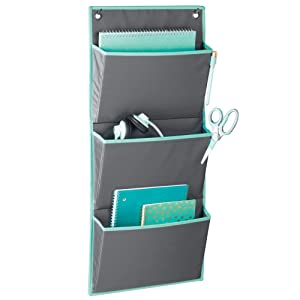 mDesign Soft Fabric Wall Mount/Over Door Hanging Storage Organizer - 3 Large Pockets - Holds Office Supplies, Planners, File Folders, Notebooks - Gray/Teal Blue