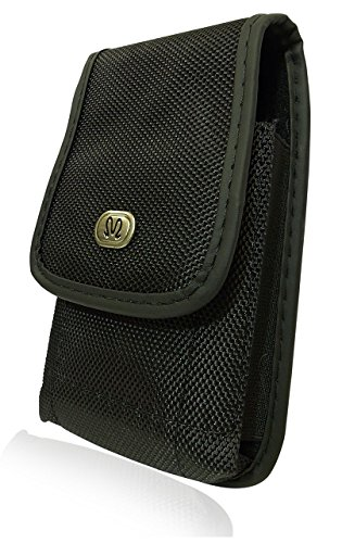 Vertical Heavy Duty Rugged Canvas Belt Clip Case Cover Pouch Holster for LG Vortex & Huawei Summit / Fits with Mophie Juice Pack