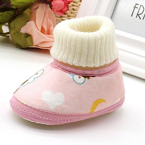 Babyschuhe Longra neugeborenes Baby Affe Druck Stiefel weichen Sohle Schnee Prewalker warme Lauflernschuhe Krippeschuhe( 0-18Monate) Pink