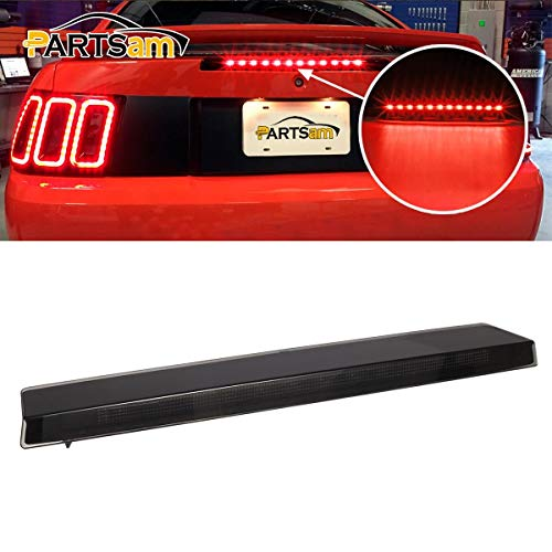 Partsam Led Third 3rd Brake Light Replacement for Ford Mustang 1999 2000 2001 2002 2003 2004 Smoked Lens Red Rear Roof Center High Mount LED Brake Tail Stop Lights Trunk Cargo Lamp 12LED