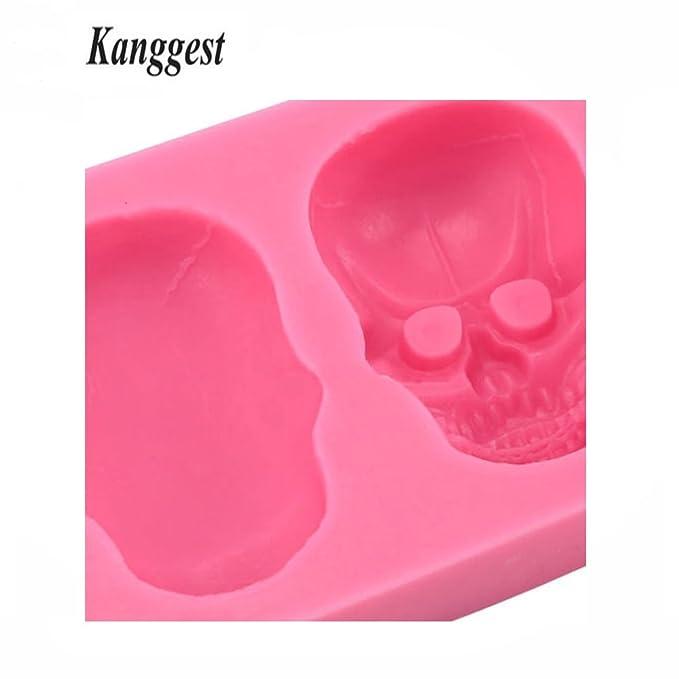 Kanggest 1 Piezas Molde de Silicona para Hornear de DIY pastel pan Chocolate gelatina pudding molde de pasteleria Cabeza de calavera hornear molde de pasta ...
