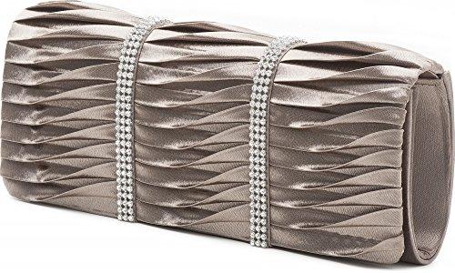 VINCENT PEREZ, Embrague, Bolsas de noche, Bolsas de hombro, Bolsas axilas, Satén, Recolección, Adorno de brillantina, 24x9.5x4.5 cm (An x Al x pr), Color: plata pardo