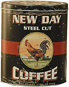 """CWI Gifts 8""""x6.5"""" Vintage Coffee Tin with Antique Rooster Ad, 8"""" x 6.5"""""""