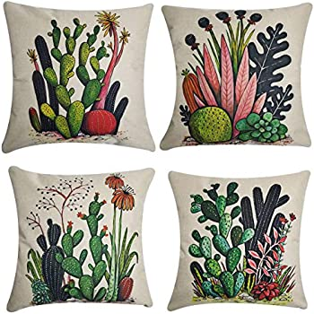 NING Cotton Linen Home Decorative Throw Pillow Case Set of 4 Cushion Cover 18