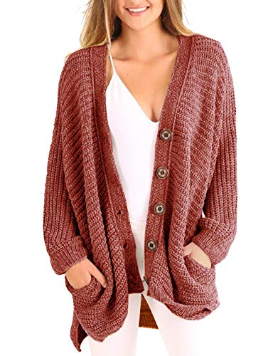 YONYWA Plus Size Womens Cardigans Boyfriend Long Cable Knit Button Cardigan Sweaters with Pockets by YONYWA
