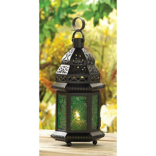 New Green Glass Moroccan Lantern Candle Style Holder Metal Hanging Decor