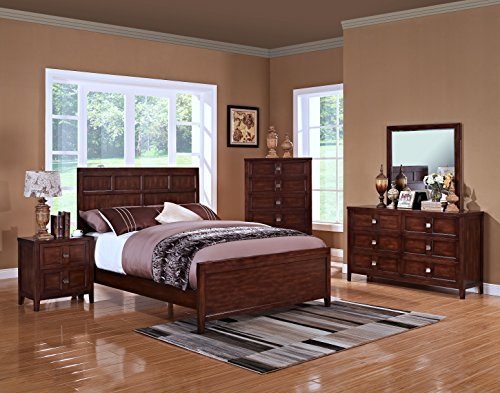 Queen Bedroom Suite King - New Classic 00-131-35N Ridgecrest 5-Piece Bedroom Set Queen Bed, Dresser, Mirror, Two Nightstands, Distressed Walnut
