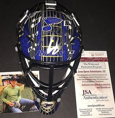 Louis Blues Mini Hockey Helmet - Jake Allen St Louis Blues Autographed Signed Mini Goalie Mask JSA Witness COA