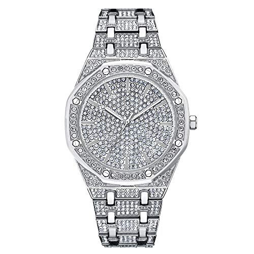 Froshine Bling-ed Out Round Luxury Mens Diamond Watch