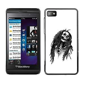 MobileHut / Blackberry Z10 / Marley Rasta Skull Jamaica Singer / Delgado Negro Plástico caso cubierta Shell Armor Funda Case Cover