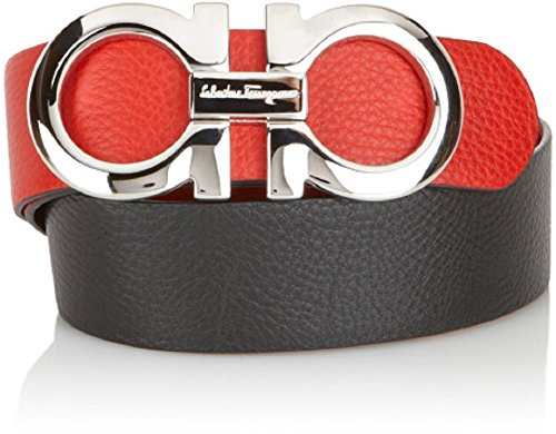 Salvatore Ferragamo Black/Red Reversible Big SILVER Buckle Belt (100cm (Waist 34-36)