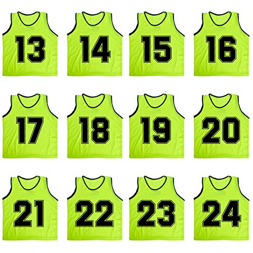 TOPTIE Numbered/Blank Scrimmage Team Practice Mesh Jerseys Vests Pinnies (12-Pack)-Green (#13 to 24)-Adult