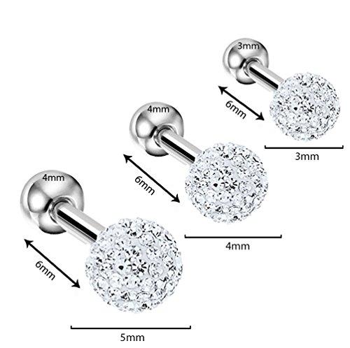 BodyJ4You 3 UNIDS Crystal Clear Ball Tragus Bar Piercing Set 16G 1.2mm Cartílago Helix Piercing de oreja Barbell
