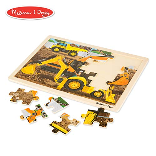 Melissa & Doug Construction Vehicles Wooden Jigsaw Puzzle With Storage Tray (24 -