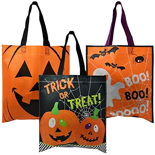 Halloween Trick Or Treating Bags (24 Pack Halloween Trick or Treat Tote Bags with Handles Pumpkin Spider Web & Ghost Designs Halloween Goody Bag for Kids Party Favor)