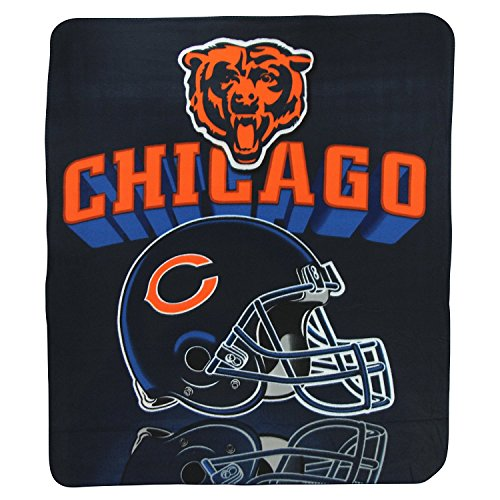 The Northwest Company NFL Chicago Bears Gridiron Fleece Throw, Blue, 50