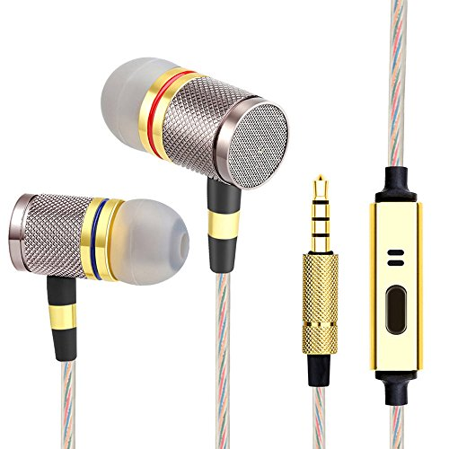 Audifonos Headphones, Earbuds, High Definition - in-Ear, Noise Isolating, Heavy Deep Bass, Audifono Ear Buds Compatible with Samsung Galaxy S9 S8 S7 S6 S5 Note and More Cell Phones (Gold with Mic)