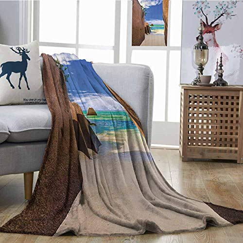 Zmcongz Cozy Flannel Blanket Seaside Decor Collection Beach Source dArgent at Seychelles Tropical Sandy Walls Lands Dream Like Scenery Ultra Soft and Warm Hypoallergenic W54 xL72 Turquoise Cream