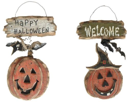 Craft Outlet Wooden Halloween Wall Sign, Set of 2