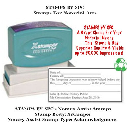 NOTARY SUPPLIES // CUSTOM XSTAMPER // PRE-INKED CUSTOM NOTARY ACKNOWLEDGMENT STAMP // Impression: 1 1/2