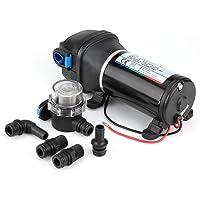 Bomba de Diafragma 12 V, Bomba de Diafragma de Suministro de Agua Autocebante con Presostato Automático 4.5GPM 17 L/Min…
