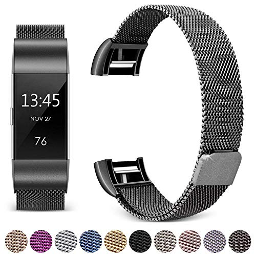 Hotodeal Band Compatible Fitbit Charge 2 Bands, Band Milanese Loop Stainless Steel Magnet Metal Replacement Bracelet Strap, Wristbands Accessories for Women Men, Black