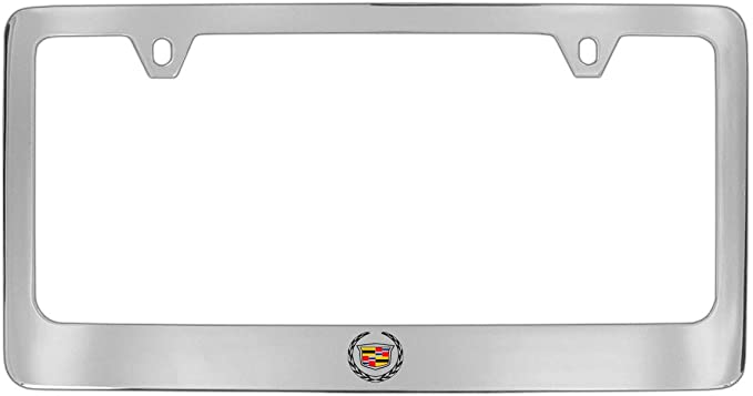 Cadillac Workmark /& Logo Chrome Plated Metal Top Engraved License Plate Frame