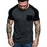 Tee Men's Work Wear Pocket Short-Sleeve T-Shirt Cotton Slim Fit Summer T-Shirt Tops Dark Gray