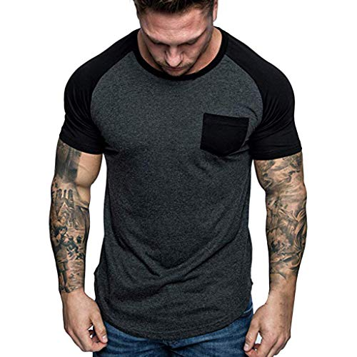 Men's Patchwork Solid Color T-Shirt, Zlolia Round Neck With Pocket Tee Slim Fashion Tops