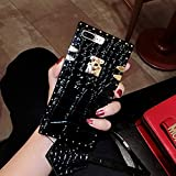 KAPADSON for iPhone 6 Plus/iPhone 6s Plus Newest Crocodile Skin Design TPU+ PU Leather Gold Square Corner Back Case Flexible Cover with Strap - Black