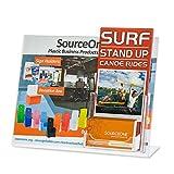 Source One Premium Landscape 11 x 8.5 Slant Back Sign Holder with Trifold Brochure Holder (1 Pack, W/Business Card Holder)