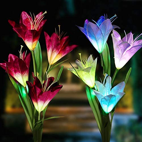 XJEXPO Solar Flower Lights,Solar Garden Stake Lights Outdoor with 8 Lily Flowers,Multi-Color Changing LED Solar Decorative Lights Garden,Patio,Backyard Purple White 2 Pack