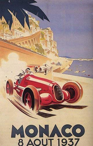 GRAND PRIX AUTOMOBILE MONACO 1937 CAR RACING STREET RACE LARGE VINTAGE POSTER REPRO