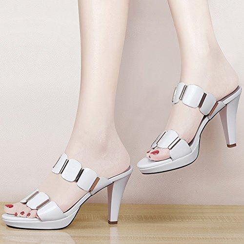 tacón Tamaño moda Color de abierta Zapatos CN39 mujeres Blanco blanco con de lentejuelas punta ZHIRONG UK6 de 9CM romanas verano EU39 alto las negro Blanco zapatillas de Sandalias de SwAqxBqvE