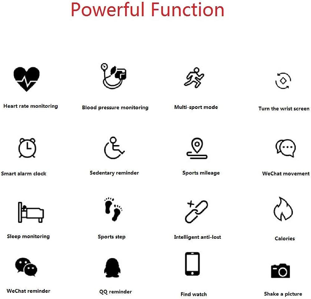 Extrbici Bracelet Intelligent HD écran Couleur prévisions météo étanche fréquence Cardiaque Pression artérielle Test de santé Femme Noir