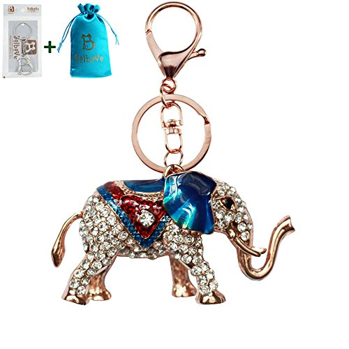 Charm Diamond Purse (Bolbove Walking Elephant with Saddle Keychain Blingbling Crystal Rhinestone Purse Pendant Handbag Charm (Blue))